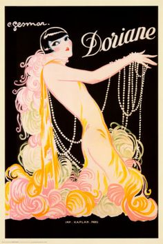 vintage French advertising art poster from the 1920's