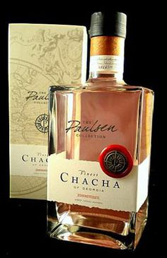 Chateau Mukhrani Vintage Chacha. It is a Georgian word and in translation it means vodka produced by husks of grapes which remain after winemaking. Shato Mukhrani, Georgian based wine company has its own vineyards and receives harvest, produces wine and vodka from the grapes. Chacha has specific Georgian vodka taste.