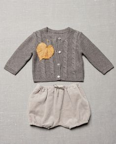 Grey knitted cardigan and needlecord bermudas - Zara Kids