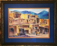 Southwestern art framed with a fillet, acid-free matting, and Tuscany frame by @larsonjuhl! #art #pictureframing #customframing #denver #colorado