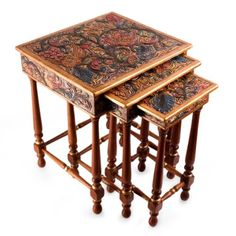 Handmade Nesting End TablesOrientalCedar Wood Tooled Leather Accent #EndTable #Handcrafted #CedarWood #Furniture #Nesting #Accent #Ebay