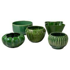 Green Ceramic Bowls - Set of 5