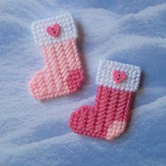 """Plastic Canvas: Christmas Stockings Mini Magnets (set of 2) -- """"Pretty and Pink""""…"""