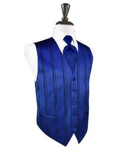 Royal Blue Striped Satin Tuxedo Vest with Long Tie and Pocket Square Set Blue Suit Vest, Blue Vests, Midnight Blue Suit, Navy Blue Tuxedos, Royal Blue Tie, Blue Silver Weddings, Formal Vest, Tuxedo Wedding, Wedding Tuxedos