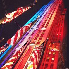 Democracy Plaza at Rockefeller Center on Election Night