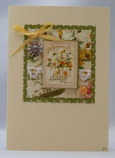 Handmade Card - Daisies and Lace £2.50