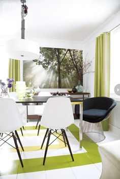 Fresh spring decorations In the dining room with natural poster