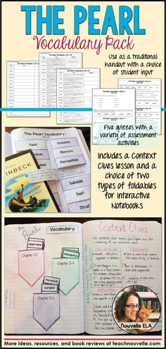 This vocabulary resource pack for The Pearl by John Steinbeck contains word lists, Interactive Notebook foldables, a Context Clues lesson, and vocabulary quizzes to help your students engage with and learn new words. You get your choice of word lists (have students find definitions, or definitions and the quote) and your choice of foldables (flaps or flash cards). For use with or without Interactive Notebooks. (grades 7-10)