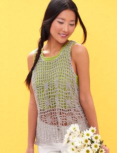 Yarnspirations.com - Patons Light Layers Tank - Patterns  | Yarnspirations - A sheer spiderweb top and a solid pop color tank work together in this fresh take on summer layering. Shown in Patons Grace. Sizes XS to 4/5X