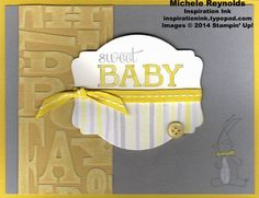 Handmade baby card by Michele Reynolds, Inspiration Ink, using Stampin' Up! products - Baby We've Grown Set, Alphabet Press Embossing Folder, Core'dinations Card Stock, Deco Labels Collection Framelits, Watercolor Wonder Designer Series Paper, and Chalk Marker.