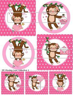 DIY Printable Monkey Love Valentine 1 Shrinky Dinks by MaddieZee, $1.25