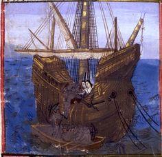 Cornouaillais payant le tribut à l'Irlande (f°26) -- «Tristan de Léonois», France, vers 1470 [BNF Ms Fr. 102] -- cote: Français 102