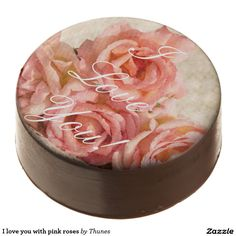 I love you with pink roses chocolate dipped oreo