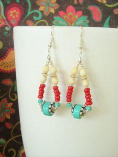Boho Earrings Southwest Earrings Turquoise Jewelry by BohoStyleMe