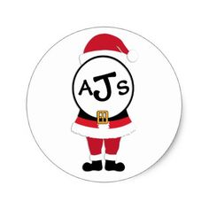 Festive Monogram Santa Christmas Sticker - monogram gifts unique design style monogrammed diy cyo customize