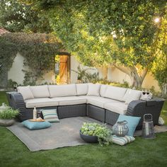 Have to have it. Belham Living Cordova All Weather Wicker Sectional Set - $1999.99 @hayneedle