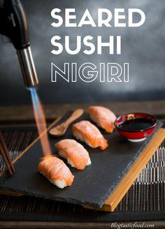 Seared salmon sushi nigiri even a sushi amateur like me can make.  Recipe: http://www.blogtasticfood.com/seared-sushi-nigiri/