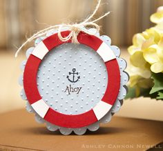Scalloped Circle Nautical Card- Use Ahoy stamp set from My Cute Stamps
