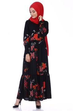 Çiçekli Büzgülü Elbise 1359 - Siyah