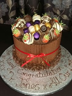 Super Deluxe Chocolate Box Mikado Celebration Cake. Yummy, Yum, Yum!!! Frosting, Icing, Chocolate Stout, Celebration Cakes, Yum Yum, Touch, Fruit, Luxury, Celebrities
