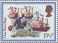 Christmas Carols 19.5p Stamp (1982) 'I Saw Three Ships'