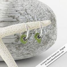 Tiny Lime Green Sea Glass Hoop Earrings
