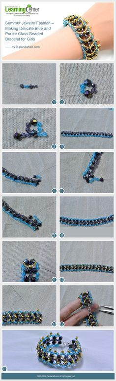 Summer Jewelry Fashion – Making Delicate Blue and Purple Glass Beaded Bracelet for Girls from LC.Pandahall.com #pandahall