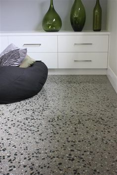 Polished Concrete Floor with Mawsons Pyramid Hill and Lake Cooper Stone Polished Concrete Flooring, Terrazzo Flooring, Stone Flooring, Bathroom Concrete Floor, Simple Bathroom Designs, Modern Bathroom, Terrazo, Beach House Kitchens, D House