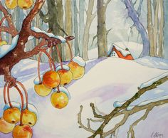 Winter Fruit Storybook Cottage Note Card and Envelope