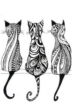 Drawing of Cats with pretty designs.