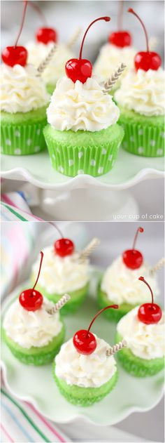 Shamrock Shake Cupcakes - a minty cupcake with homemade whipped cream and a maraschino cherry on top. It's your absolute favorite ice cream drink, Shamrock Shakes, stuffed into a cupcake and it's delicious! Köstliche Desserts, Delicious Desserts, Yummy Food, Cupcake Recipes, Cupcake Cakes, Dessert Recipes, Cupcake Ideas, Yummy Treats, Sweet Treats