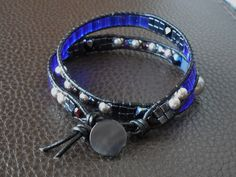 Leather beaded two loop bracelet by SWEETUBIJU on Etsy