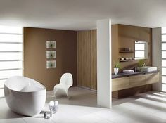 The Beauty of Color Combination Brown and White of Modern Bathroom Ideas. #Bathroom #ModernBathroomIdeas