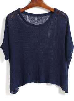 Blue Round Neck Sheer Loose Knitwear 17.00