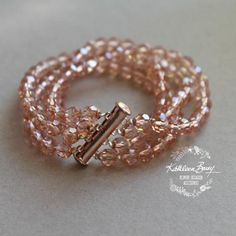 Jemma Rose gold crystal cuff bracelet - blush pink or clear four strand
