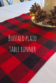 Buffalo plaid table runner.  Perfect addition to your lumberjack party or woodland theme party.