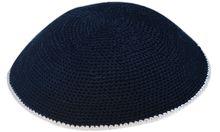 Navy Crochet Kippah KNT-NWV513