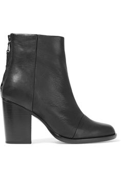 Heel measures approximately 90mm/ 3.5 inches Black leather Zip fastening along back Made in Italy
