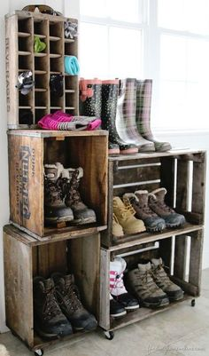 Rustic Mud Room with Turkish Ivory Travertine, Concrete tile, Built-in bookshelf, Crates and Pallet Large Wood Crate
