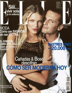 Miguel Bosé featured on the Elle Spain cover from November 1998