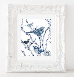 Birds and Branches  Blue and White Pattern  Wall by gLaMaPeeL