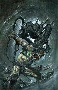 Alien attacking Predator