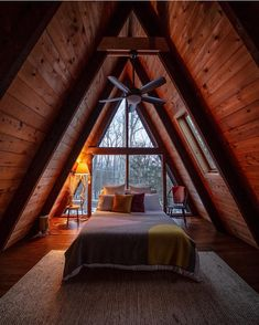 A-Frame loft bedroom perfection! Shot by dirtandglass Location - Tiny House Cabin, Tiny House Design, Cabin Homes, A Frame Cabin Plans, Triangle House, Bedroom Frames, Cabin Interiors, Cozy Cabin, Bedroom Loft