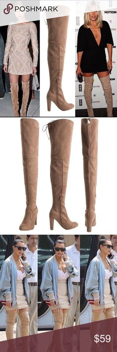 """30"""" Thigh High Boots Taupe Faux suede upper and wrapped heel. Adjustable drawstring/cord. 4"""" heel. Zipper runs from footbed to mid leg. Calf, 15"""". Top of shaft, 19"""". Total height from heel tip to top of shaft, 30 1/2"""". CENTER IMAGE 1 and IMAGE 2 SHOW ACTUAL BOOT STYLE FOR SALE. Image 1 left & right and image 3 are for styling ideas only. As with all merchandise, seller not responsible for fit nor comfort. Brand new. No trades. 📫📦SHIPS DECEMBER 28📫📦       ❗️PRICE IS FIRM UNLESS BUNDLED❗️…"""