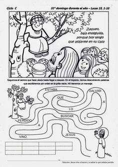 SGBlogosfera. Amigos de Jesús: HISTORIA DE ZAQUEO: ACTIVIDADES Sunday School Activities, Bible Activities, Sunday School Crafts, Bible School Crafts, Bible Crafts, Kids Church Lessons, New Testament Bible, Religion Catolica, Catholic Kids