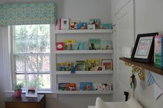 I want to take down the big (unused) shelves and put something like this between W.'s window and corner.