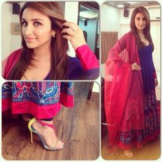 For Daawat-E-Ishq promotions, Aditya and Parineeti visited the Zee TV sets to film an Eid special to which the latter wore a Diva'Ni anarkali with Amrapali jewels. While she started out with Louboutins, looks like for the taping Parineeti swapped the colorful t-strap sandals for a pair of ankle-straps.