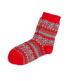 Cotton Fair Isle Boot Socks