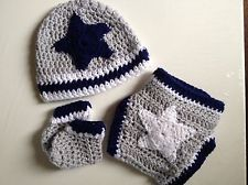 New Dallas Cowboys NFL Crochet Baby Beanie Hat Booties Shoes Gift Set