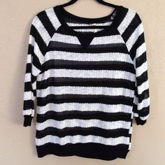 Black & White Striped Knit Sweater New, never worn except to take picture. Great lightweight knit sweater about three-quarter sleeves. Tag says small but can fit a medium, loose fit. ❌NO TRADES OR PAYPAL❌PRICE IS FIRM EVEN IF BUNDLED Sweaters Crew & Scoop Necks